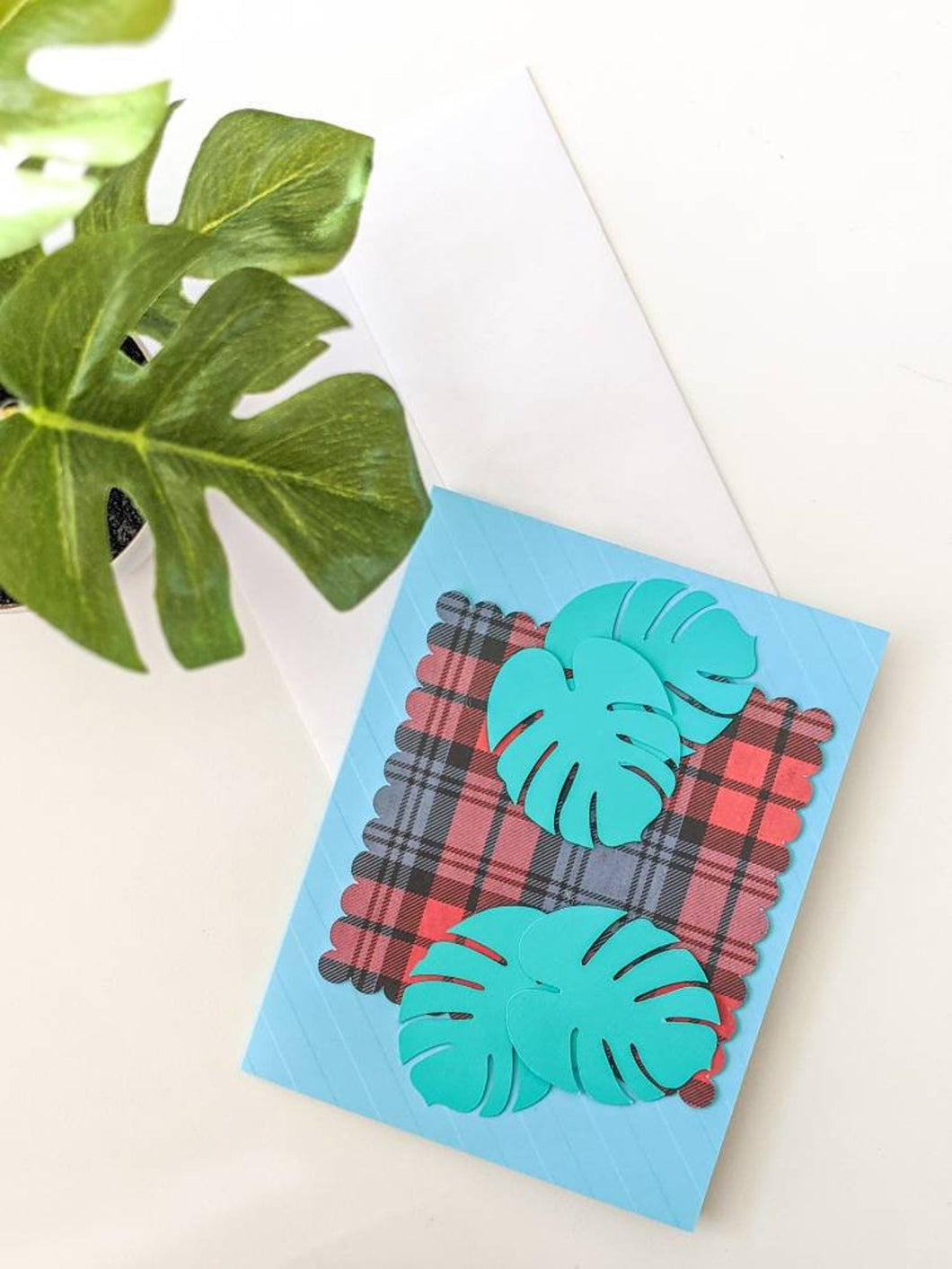 Monstera on Plaid Cards
