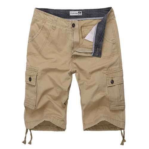ChArmkpR Mens Big Size 30-46 Multi Pocket Solid Color Casual Cotton Loose Outdooors Shorts