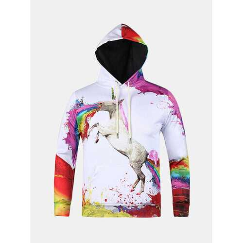 3D Colorful Unicorn Printing Casual Hoodies