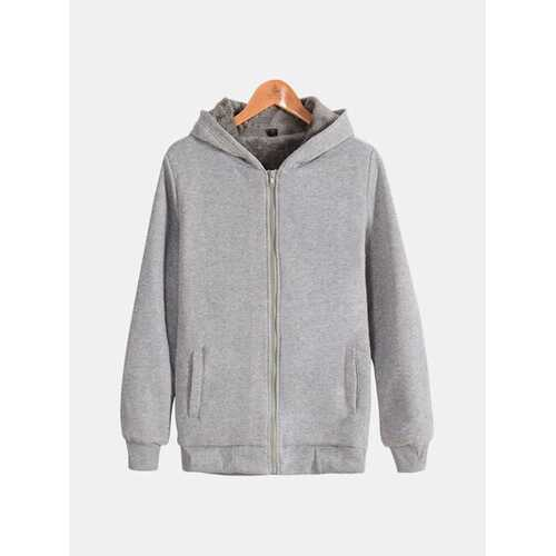Mens Oversize Casual Solid Long Sleeve Thicken Hoodie