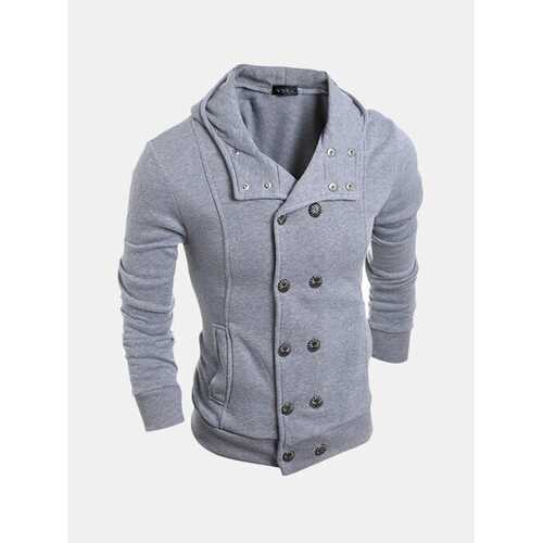 Mens Double Breasted Solid Hoodies