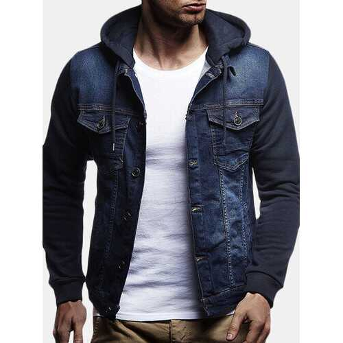 Mens Stitching Multi Pockets Vintage Slim Hoodies