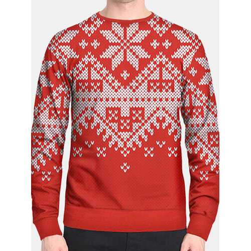 Men Christmas Snow Printed Long Sleeve Pullover Sweatshirt