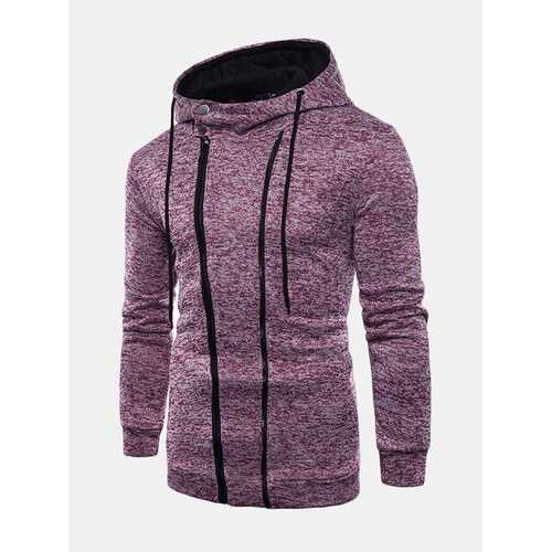 Casual Double Zipper Up Design Hooded Sweatshirts