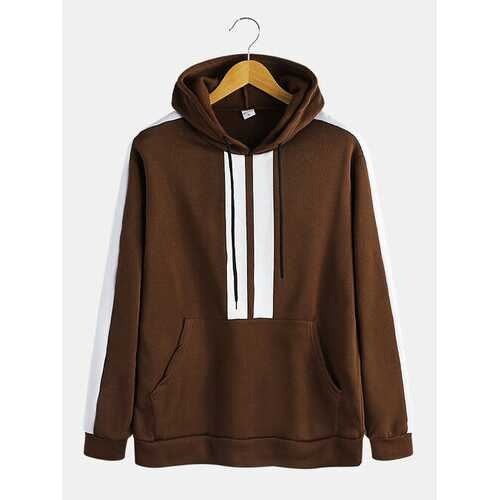 Mens Patchwork Pockets Hoodies
