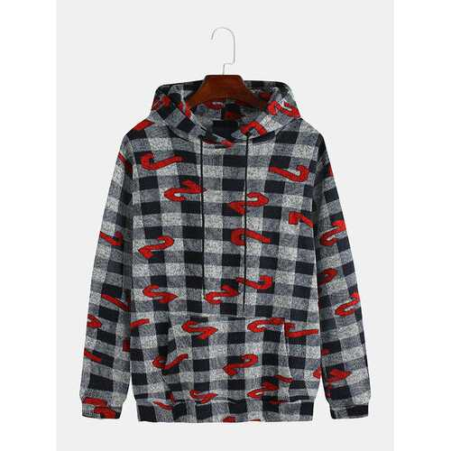 Mens Creative Plaid Number Printed Hoodies