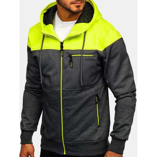 Men's Sports Hit Color Hooded Sweatshirt