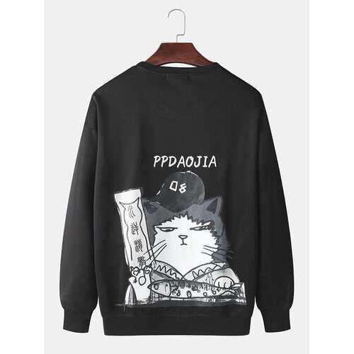 Solid Color Cartoon Cat Sweatshirts