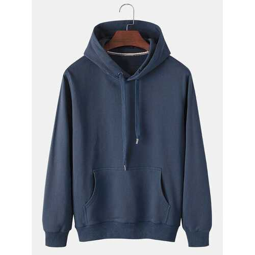 Solid Cotton Drawstring Hoodies