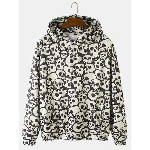 Allover Skull Print Halloween Hoodies