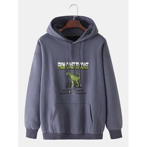 Cotton Cartoon Letter Print Hoodies