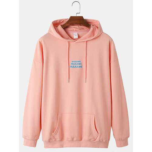 Back Slogan Letter Print Cotton Hoodies
