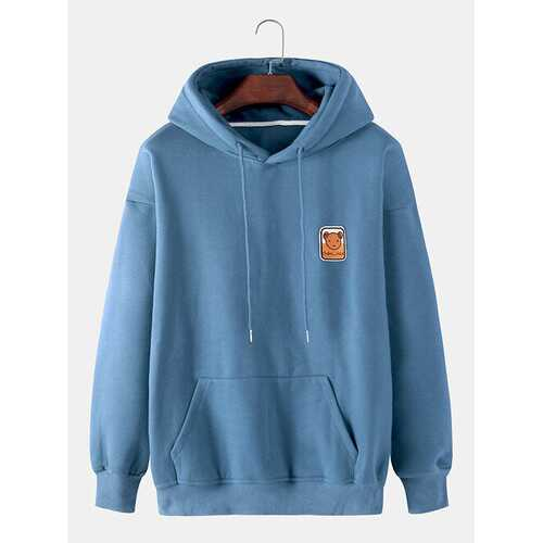 Bear Embroidery Cotton Flocking Hoodies