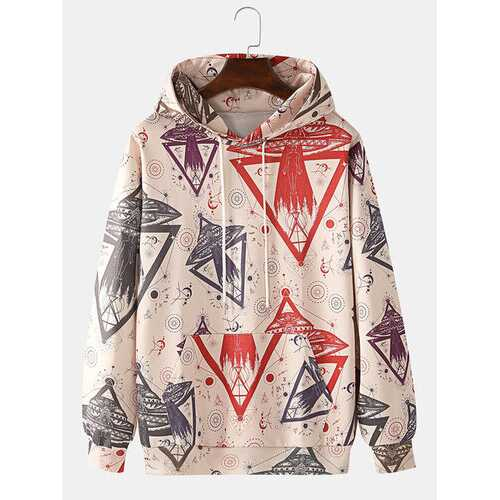 Allover Space Ship Pattern Print Hoodies