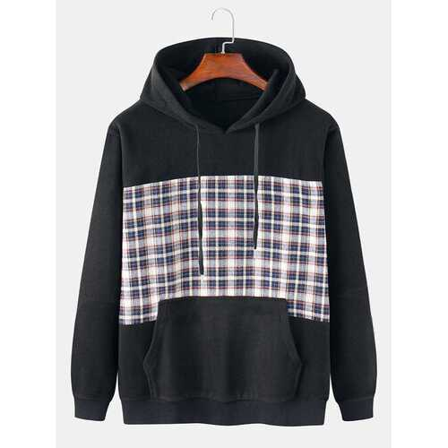 Cotton Flocking Tartan Patchwork Hoodies