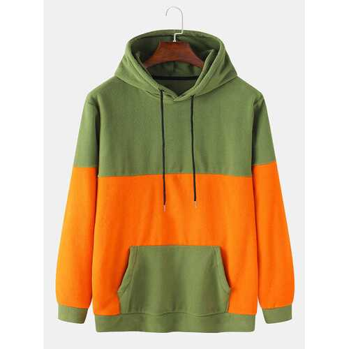 Fleece Contrast Patchwork Hoodies