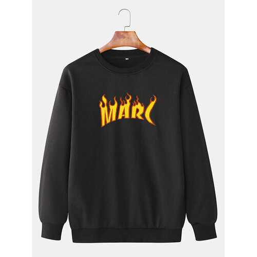 Letter Flame Printed Cotton Sweatshirts