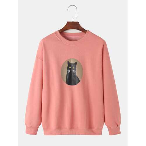 Cartoon Cat Graphic Sweatshirts
