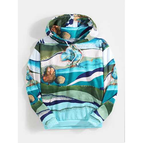 Scenery Painting Drawstring Hoodies