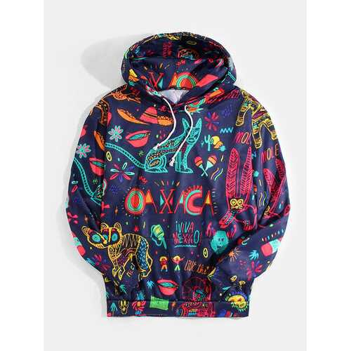 Funny Cat Print Loose Leisure Drawstring Pullover Hoodie