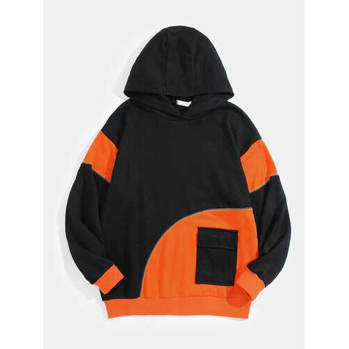 Patchwork Flap Pocket Cotton Hoodie