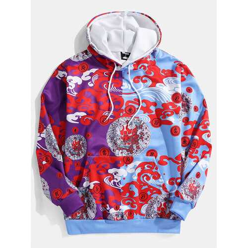 Allover Printing Patchwork Hoodie