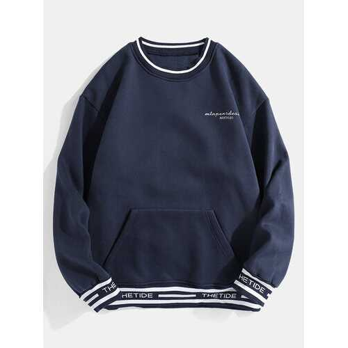 Letter Printed Pouch Pocket Sweatshirts