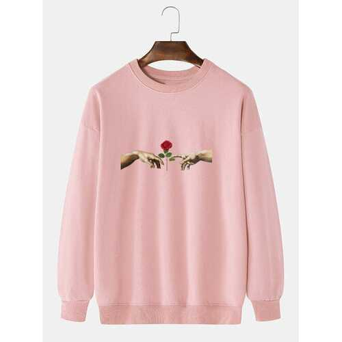 Cotton Hands Rose Pattern Print Solid Sweatshirt