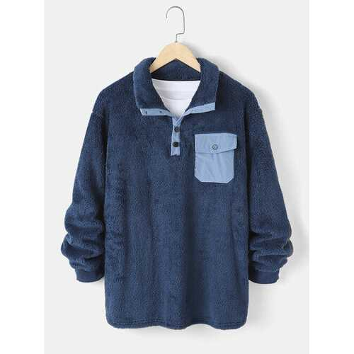 Fleece Chest Pocket Solid Sweatshirt
