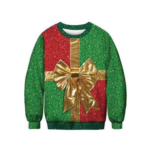 Christmas Print Long Sleeves O-neck Sweatshirt For Men