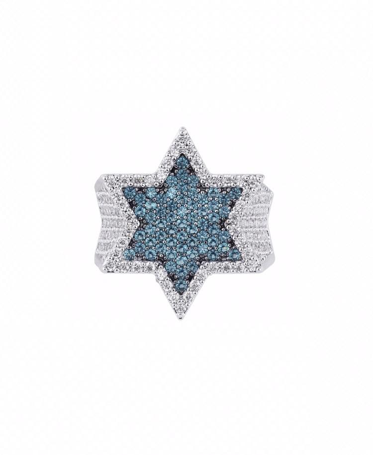 Blue Star Ring - Iced