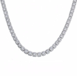 Clustered Tennis Chain - White Gold