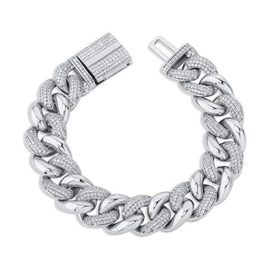16 mm Premium Cuban Link Bracelet - White Gold