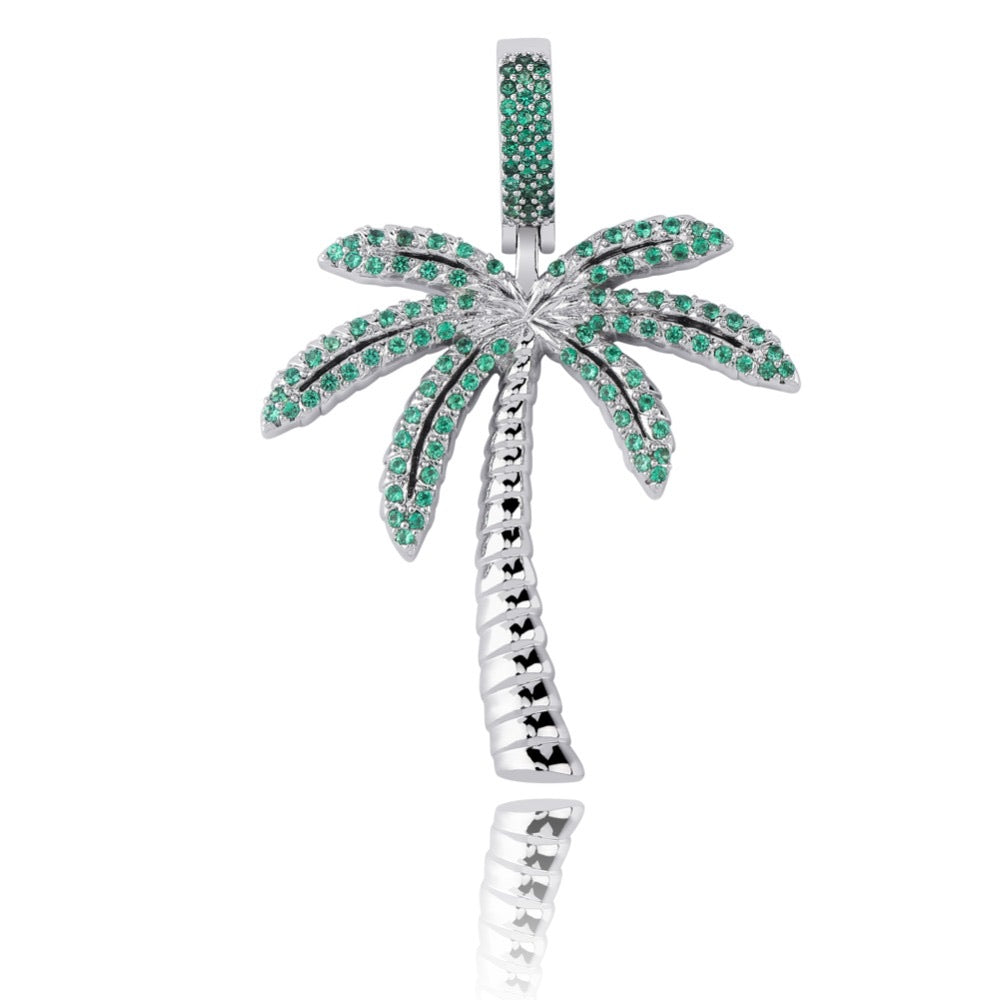 Tropical Tree Pendant - White Gold