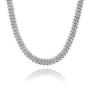 12 mm Cuban Prong Chain - White Gold