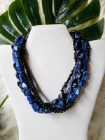 Vintage - 5-Layer Blue Beaded Necklace