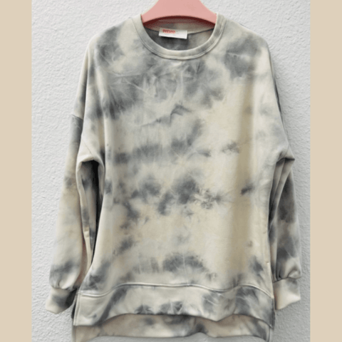 Tie-Dye Cotton Sweatshirt - Gray/Ivory