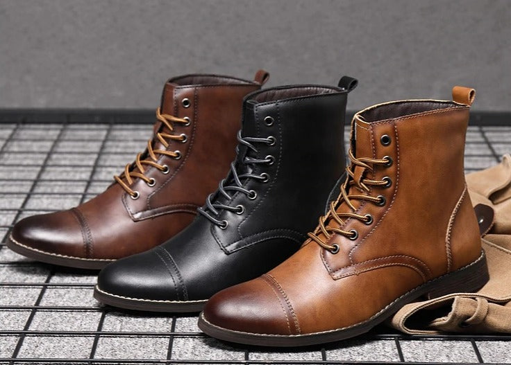 High Top Men Boots PU Leather Lace-up Military Men's Boots Pointed British / Spring Formal Snow Boots - Lordlys-Imperials