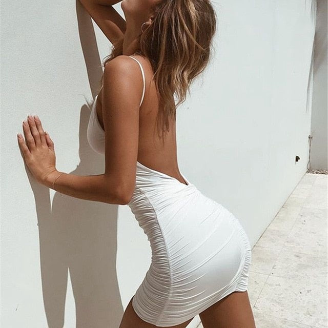 Sexy Women's Summer Backless High Draped Slim Dress - Lordlys-Imperials
