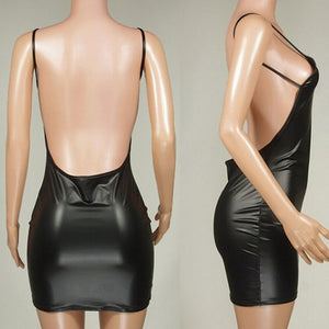 Faux Leather Dress Backless Club Party Dress - Lordlys-Imperials