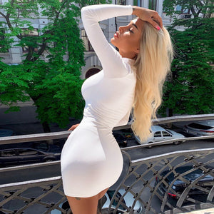 White Turtleneck Long Sleeve Slim Package Hips Mini Short Dress - Lordlys-Imperials