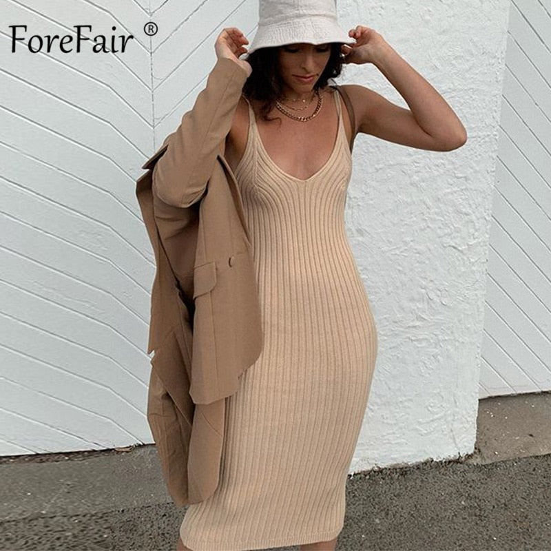 Off Shoulder V Neck Basic Ribbed Knit Midi Dress