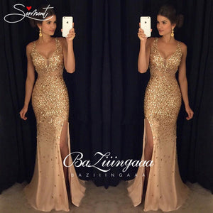 Vintage Split Sequined Evening Dress Gold Sling for Prom - Lordlys-Imperials