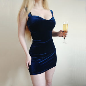 Blue V-Neck Spaghetti Strap Party Dresses. - Lordlys-Imperials