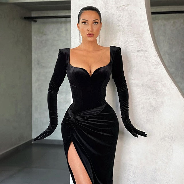 Black Sexy Split Dresses Gloves Sleeve Fashion Gown Club - Lordlys-Imperials