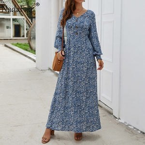 Nadafair Vintage Floral Maxi Dress. - Lordlys-Imperials