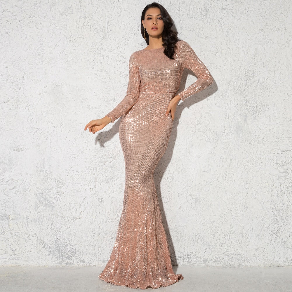 Floor Length O Neck Long Sleeve Maxi Dress - Lordlys-Imperials