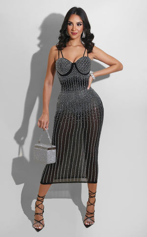 Echoing Sexy Diamond Strap Spaghetti Midi Dress - Lordlys-Imperials