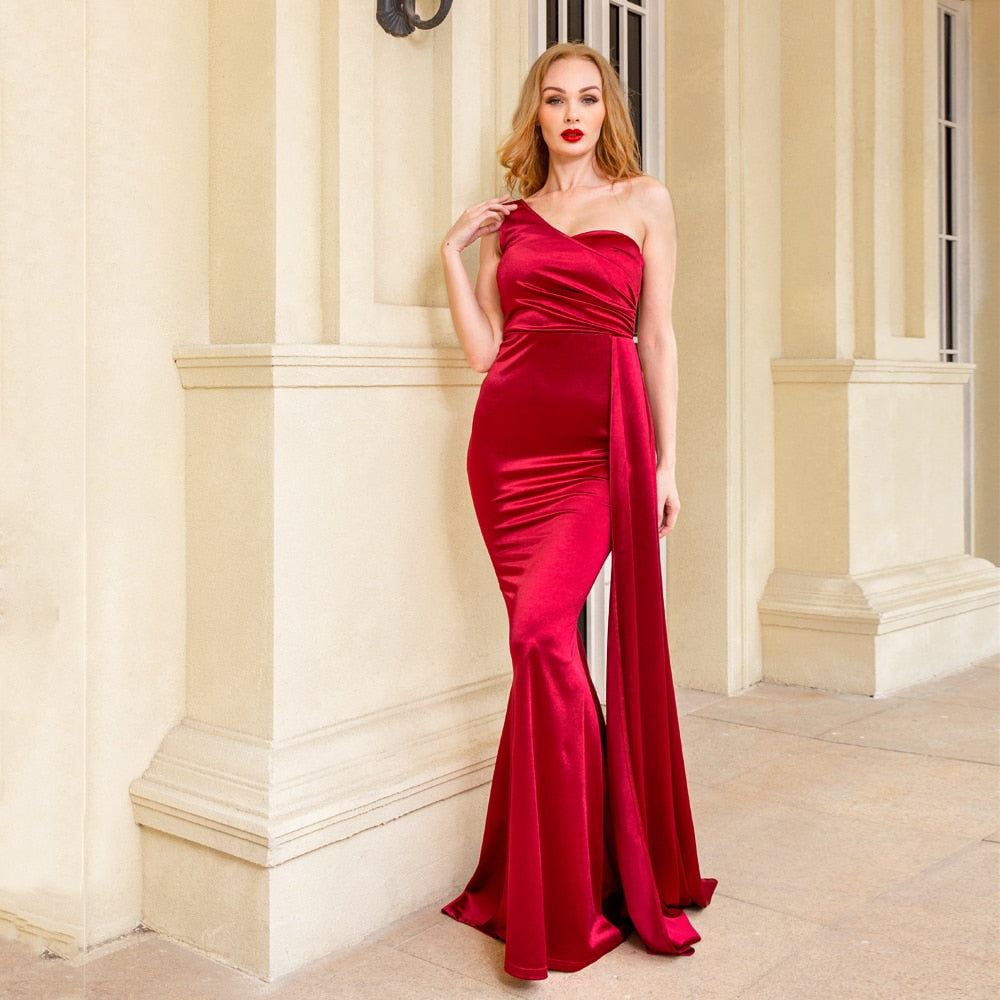One Shoulder Padded Sexy Satin Maxi Women's Dress - Lordlys-Imperials
