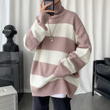 Privathinker Men's Turtleneck Stripe Sweater 2020 Winter Oversize Casual Woman Pullover Sweater Long Sleeve Streetwear Clothes